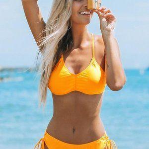 Bright Orange Lace Up Sexy Bikini Set Sz M